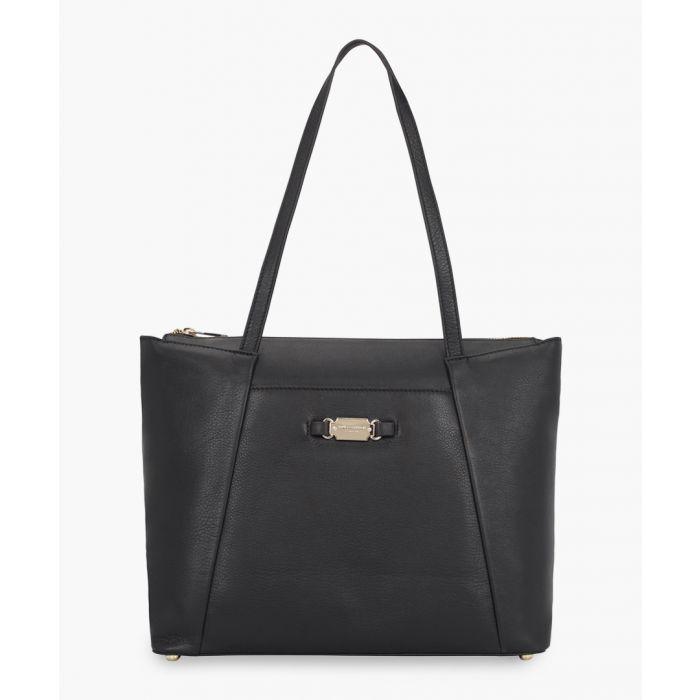 Image for Siena black leather shopper