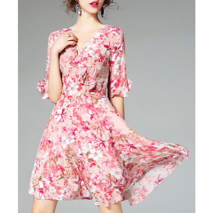 Image for Pink pure silk floral dress