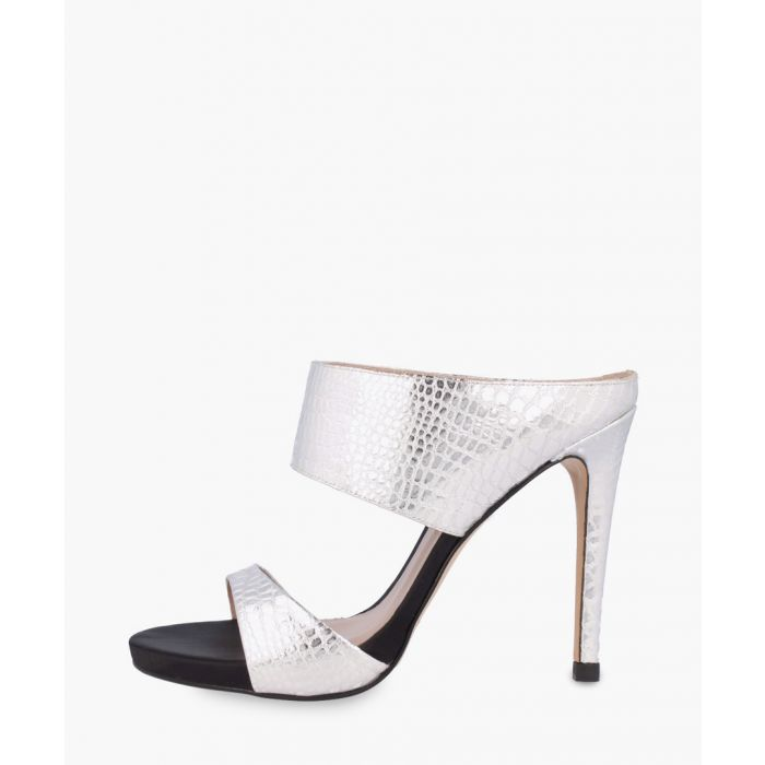 Image for Silver-tone leather heels