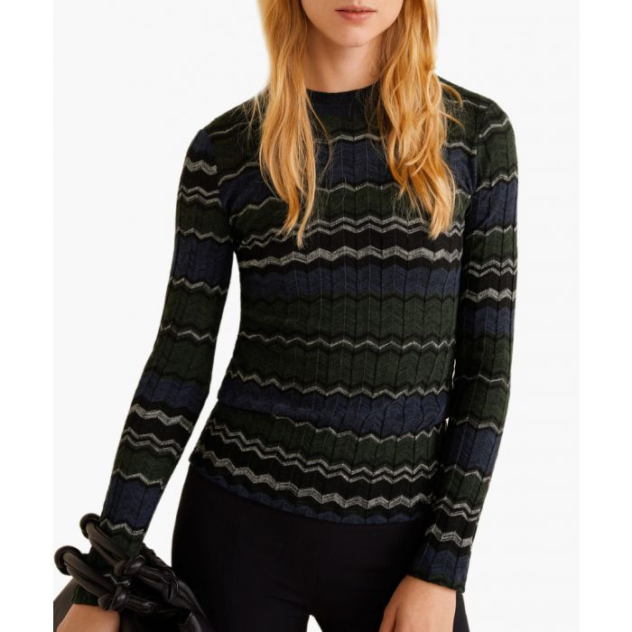 Image for Green geometric knit sweater