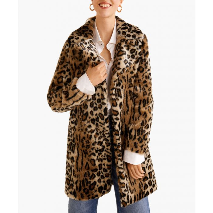 Image for Brown faux-fur leopard print coat