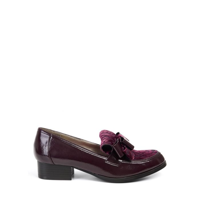Image for Gabriella burgundy bow detail loafers