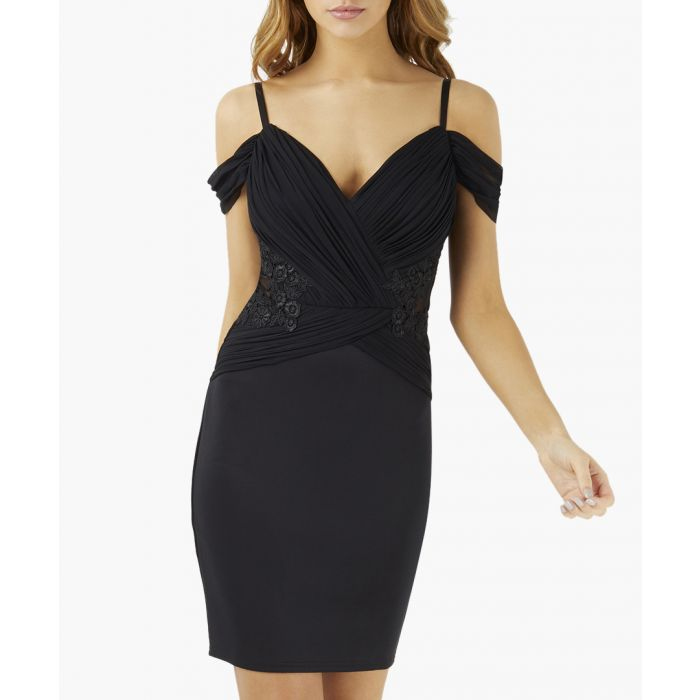 Image for Black embellished pleated body fitted dress