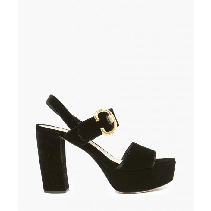 Image for Black velvet platform sandals