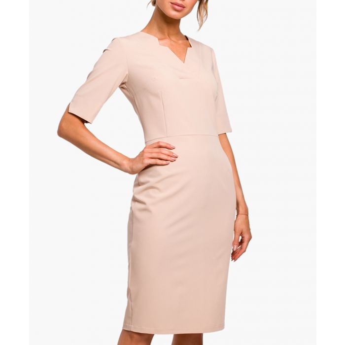 Image for Beige three-quarter sleeve fitted dress