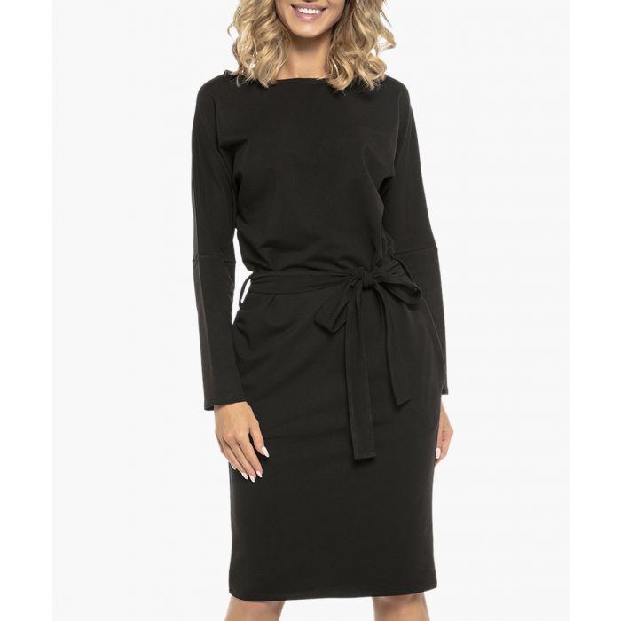 Image for Black cotton blend tie-front dress