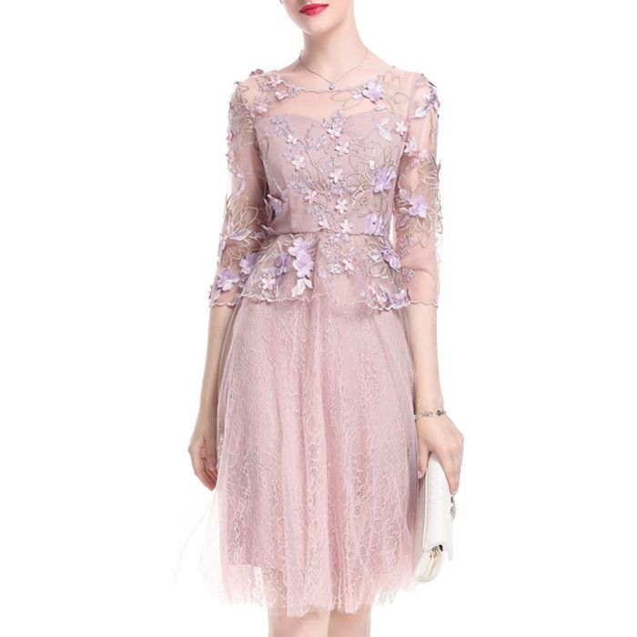 Image for Pink embroidered peplum dress
