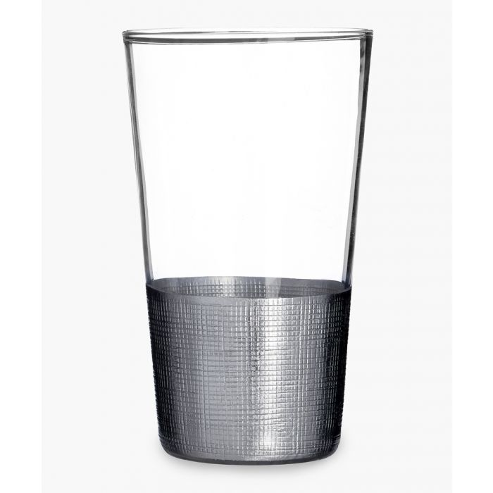 Image for 4pc Apollo silver-tone crosshatched highball glasses