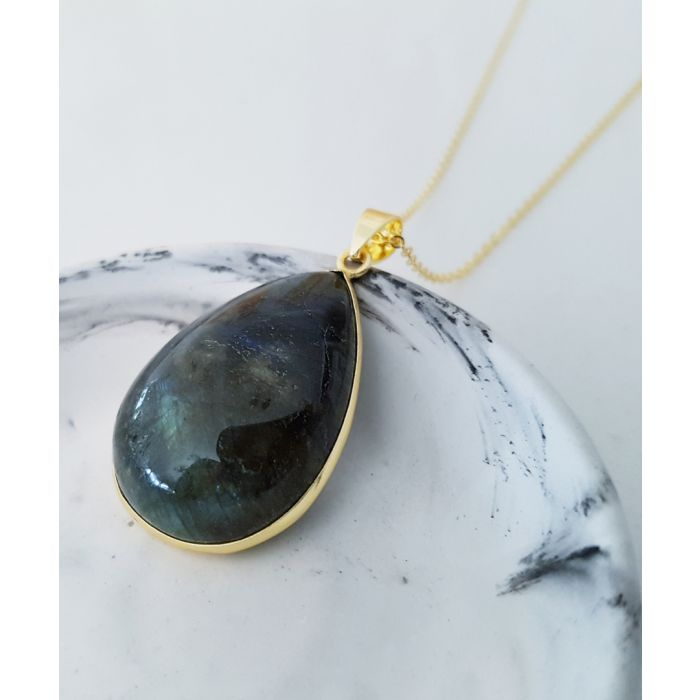 Image for Raindrop 14k gold-plated and labradorite necklace
