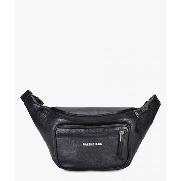 Image for Black leather belt bag