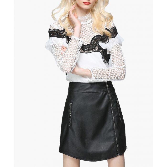 Image for Black zip-detail knee-length skirt