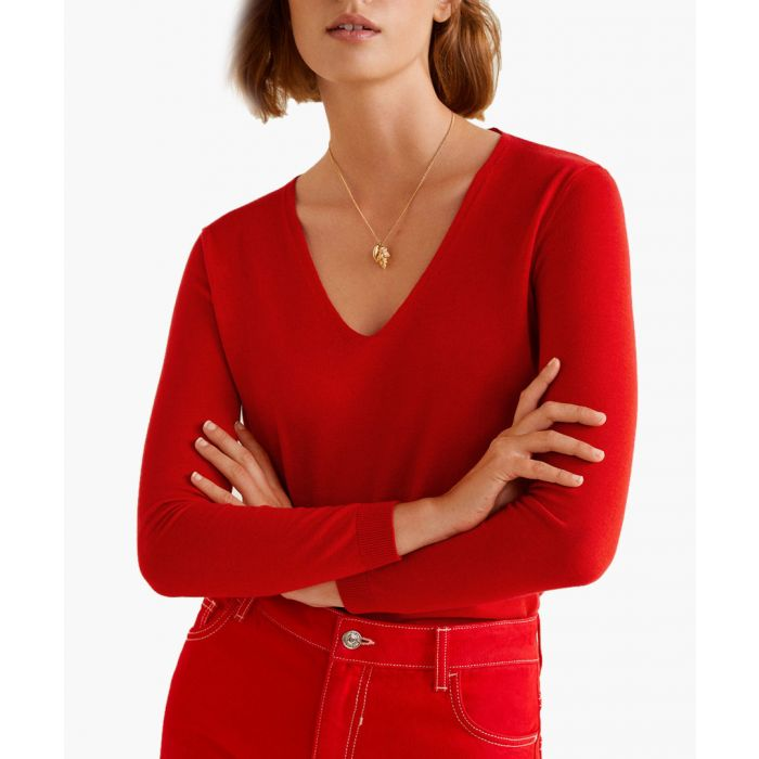 Image for Red V-neck sweater