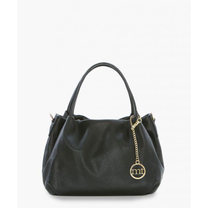 Image for Lunigiana black leather shoulder bag