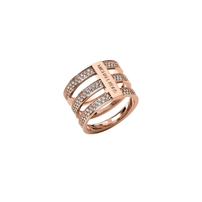 Image for Rose gold-tone three-row crystal ring