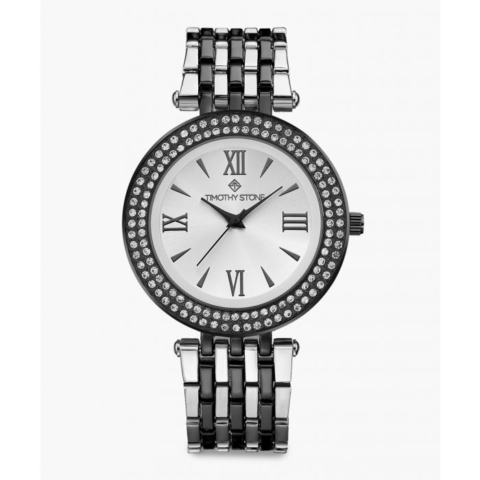 Image for Burst black and silver-tone watch