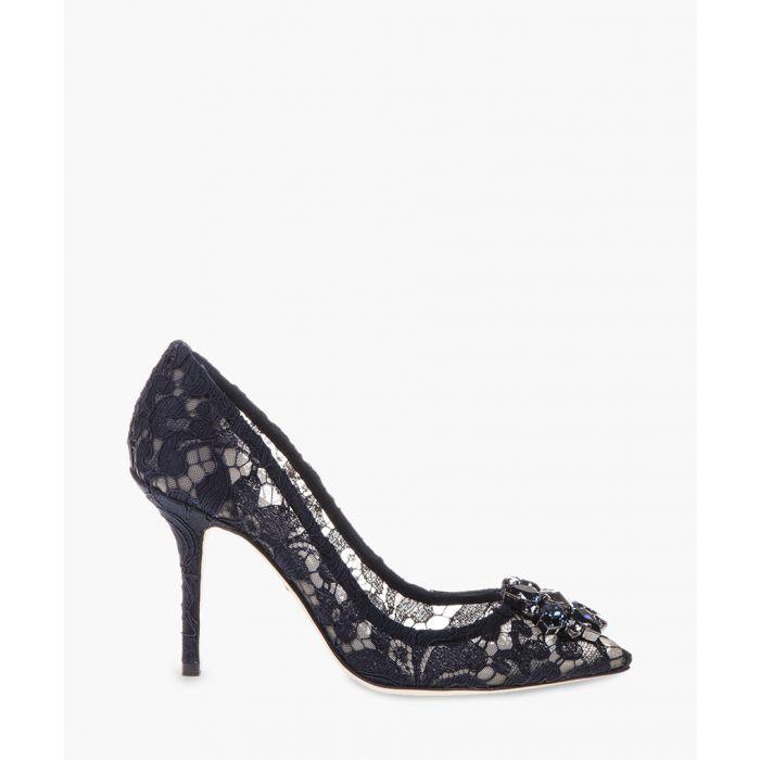 Image for Belluci blue Taormina lace embellished pumps