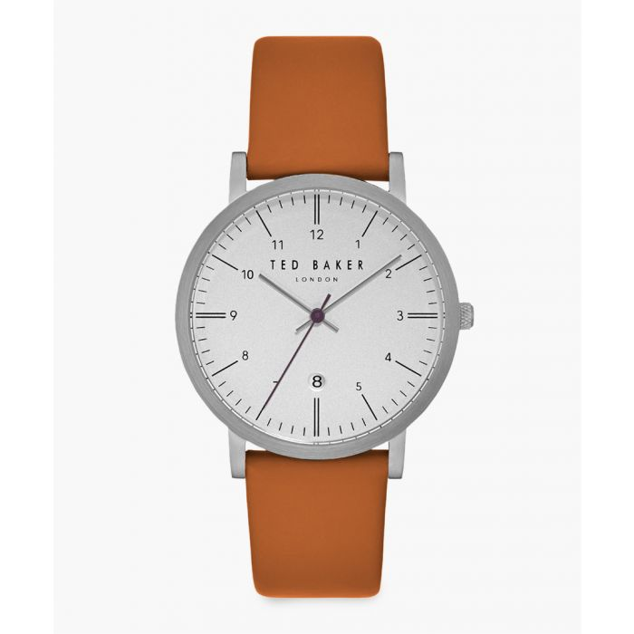 Image for Samuel orange leather and stainless steel watch