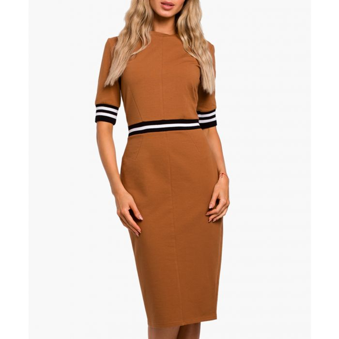 Image for Caramel cotton blend dress