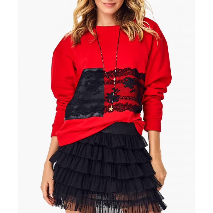 Image for Red cotton blend blouse