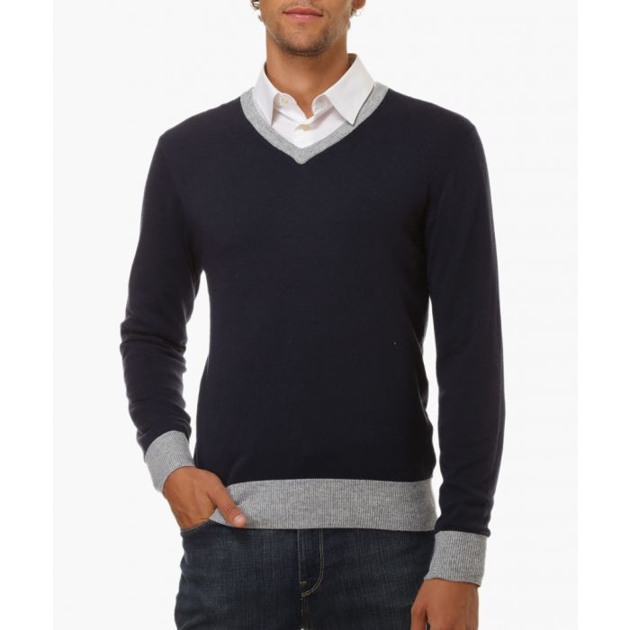 Image for Navy cashmere and silk blend jumper