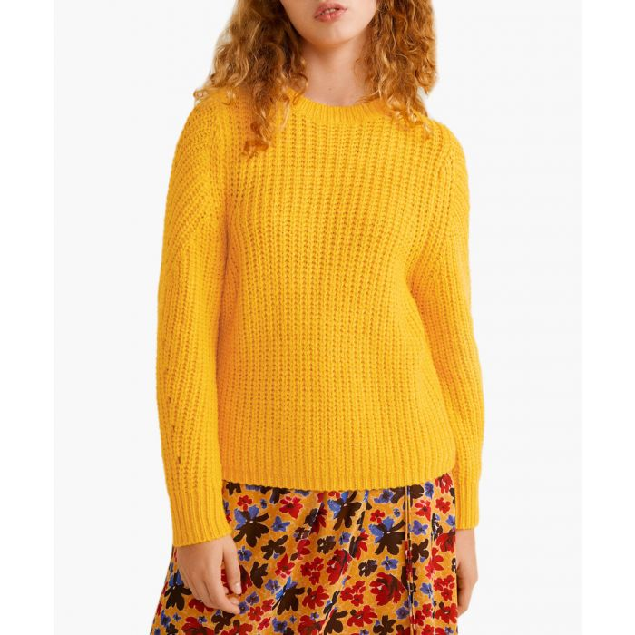 Image for Mustard open work-detail sweater