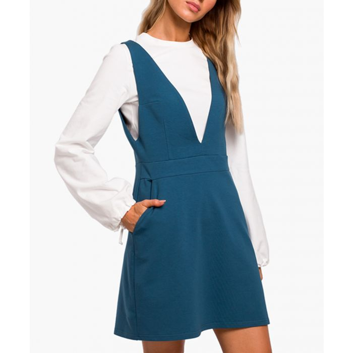 Image for Ocean blue cotton blend dress