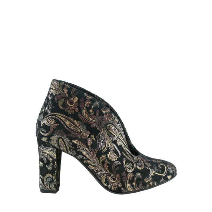 Image for Black leather print heeled boots