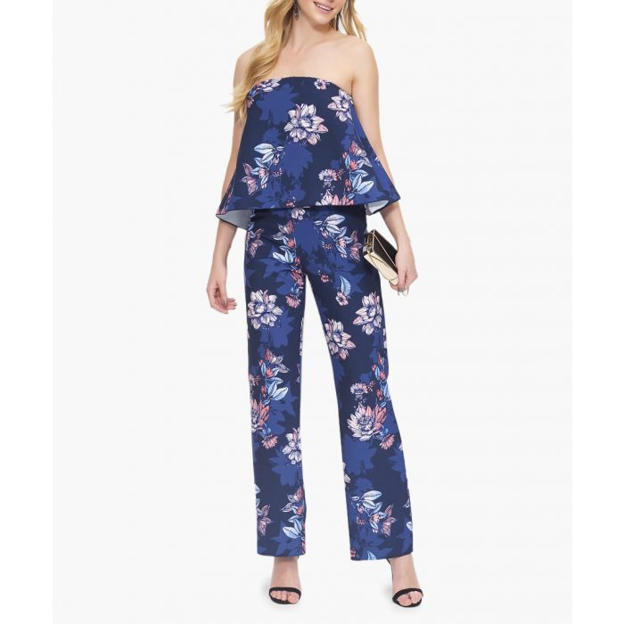 Image for Blue floral print bandeau jumpsuit
