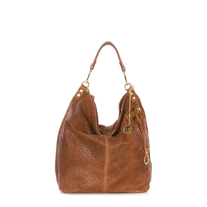 Image for Brown leather woven slouch bag