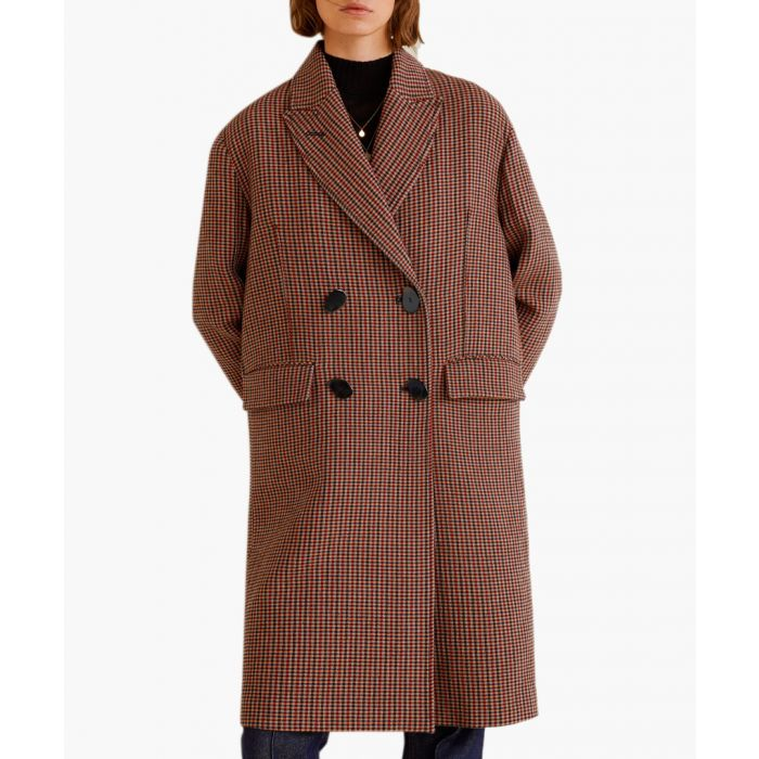 Image for Brown double-breasted check coat