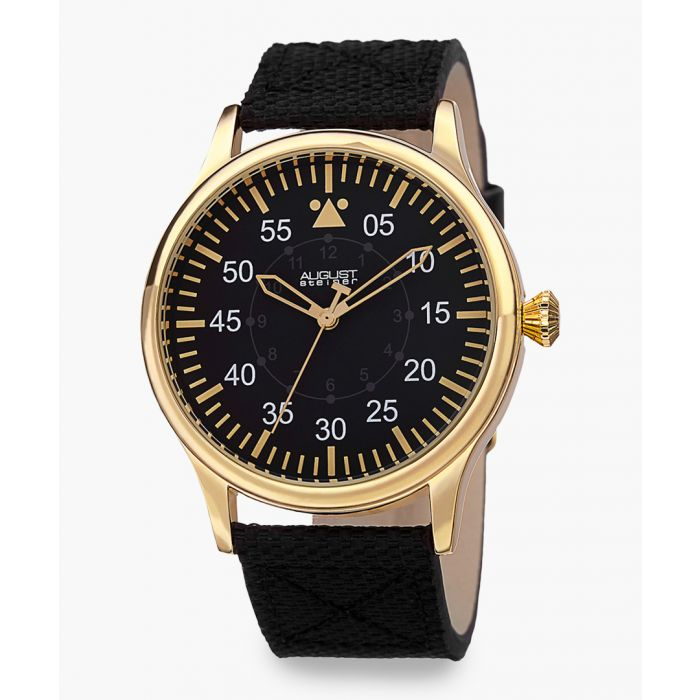 Image for Gold-tone and black leather watch