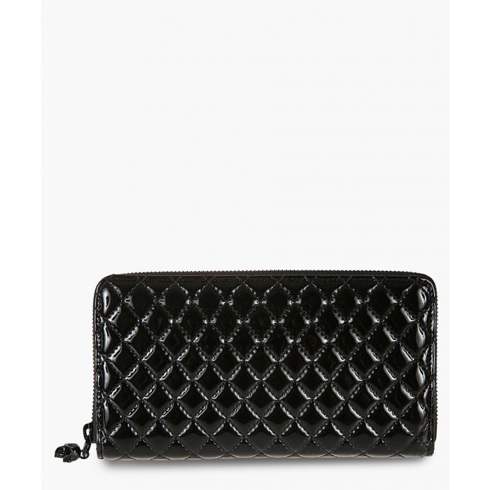 Image for Black patent quilted continental wallet