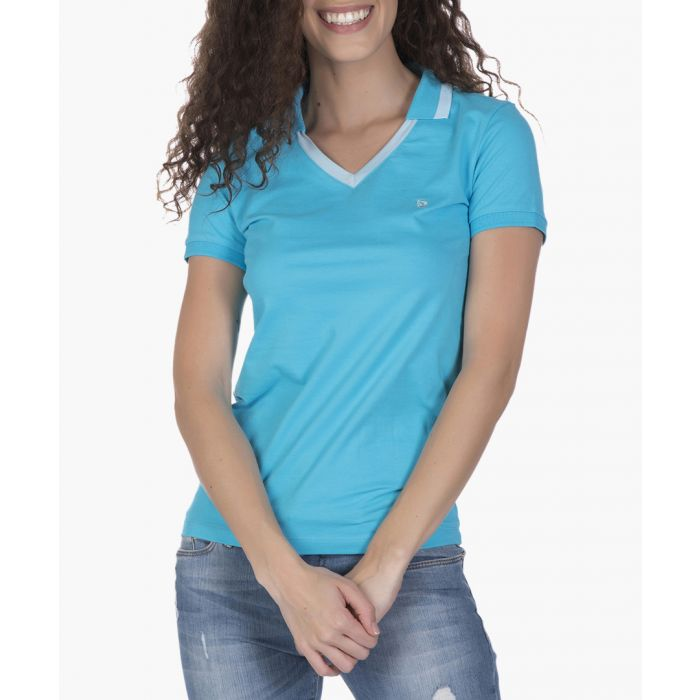 Image for Turquoise blue cotton-blend polo shirt