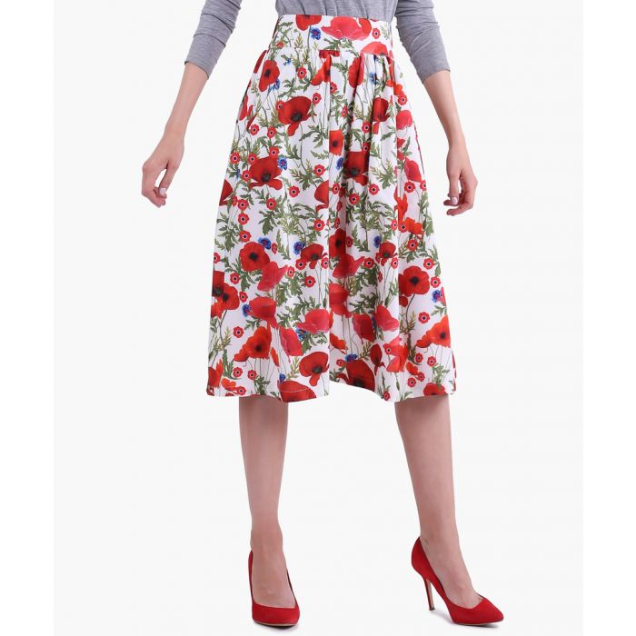 Image for Red & Poppies Woven Skirt