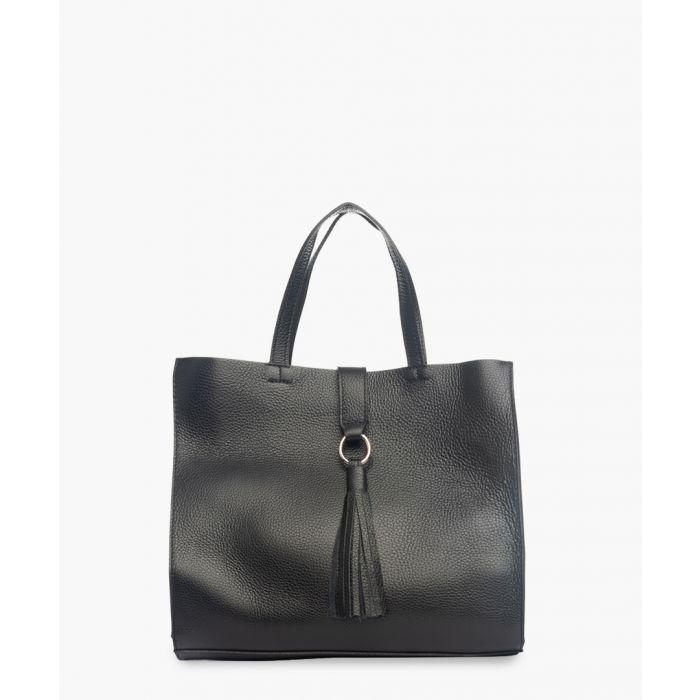Image for Imagna black leather shopper