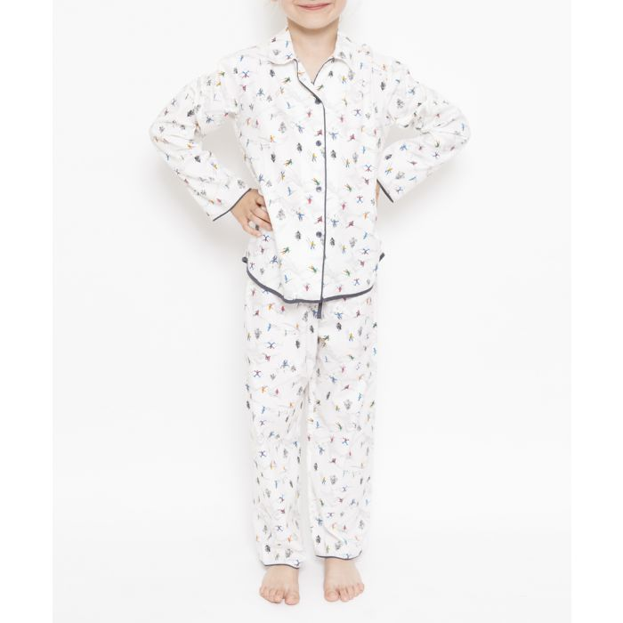 Image for 2pc Aspen white ski printed pyjama set