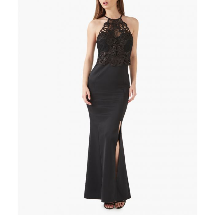 Image for Black lace artwork maxi dress