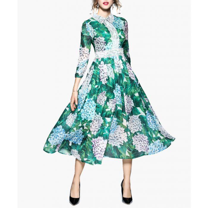 Image for Green hydrangea print midi dress