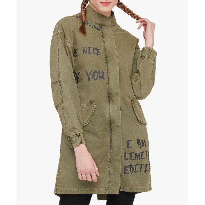 Image for Olive pure cotton printed parka