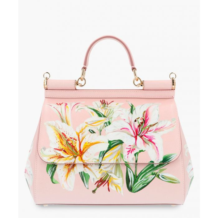 Image for Sicily pink leather floral print small tote