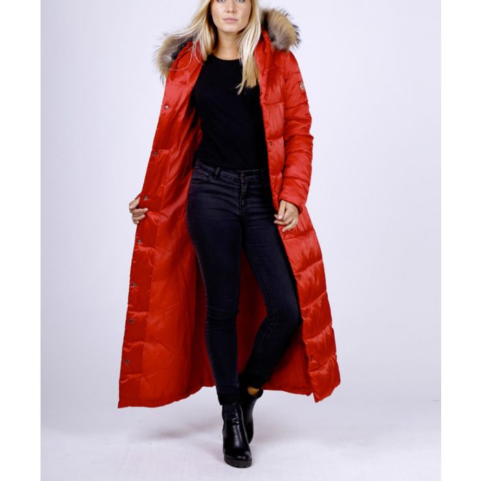 Image for Red faux fur trim quilted shell ankle length coat