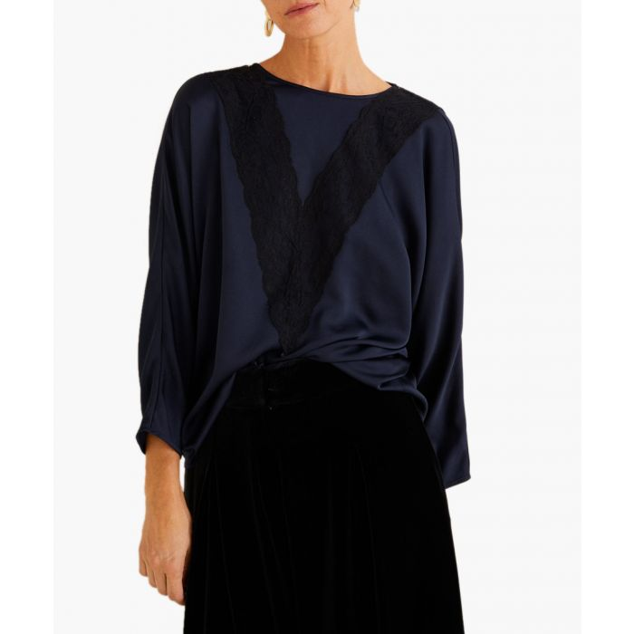 Image for Blue lace panel blouse