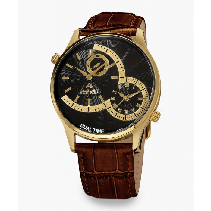 Image for Gold-tone and croc-embossed dual time watch