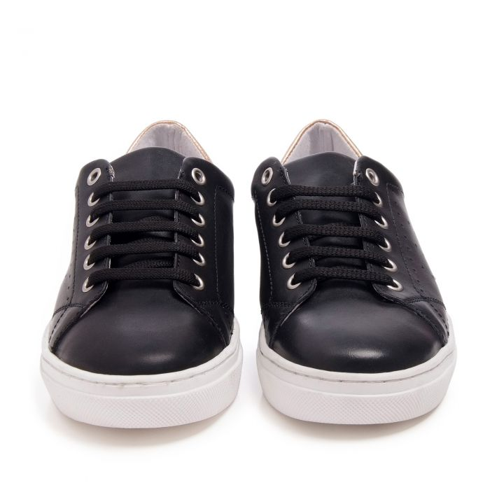 Image for Womens black leather lace up sneakers