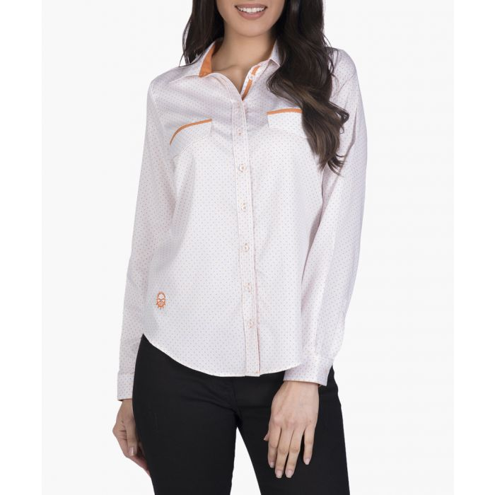 Image for White and orange cotton shirt