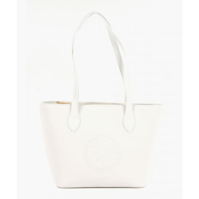 Image for White embossed faux leather shopper