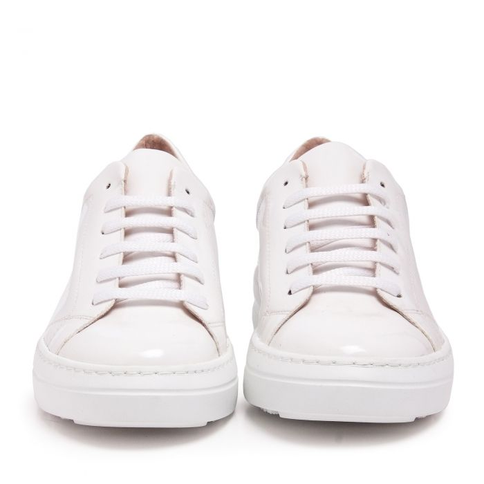 Image for Womens white leather lace up sneakers