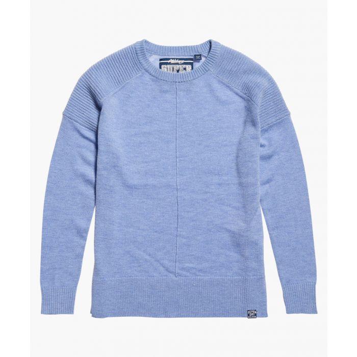 Image for Bria blue wool blend raglan knit jumper