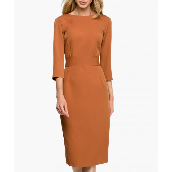 Image for Caramel fitted dress
