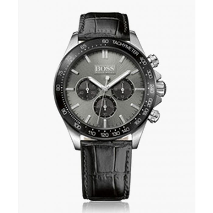 Image for Black leather moc-croc sub dial watch